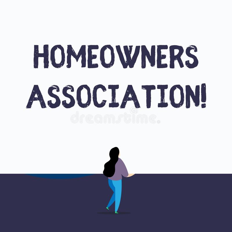 Handwriting text writing Homeowners Association. Concept meaning Organization with fee for upkeeps of Gated Community. Handwriting text writing Homeowners vector illustration