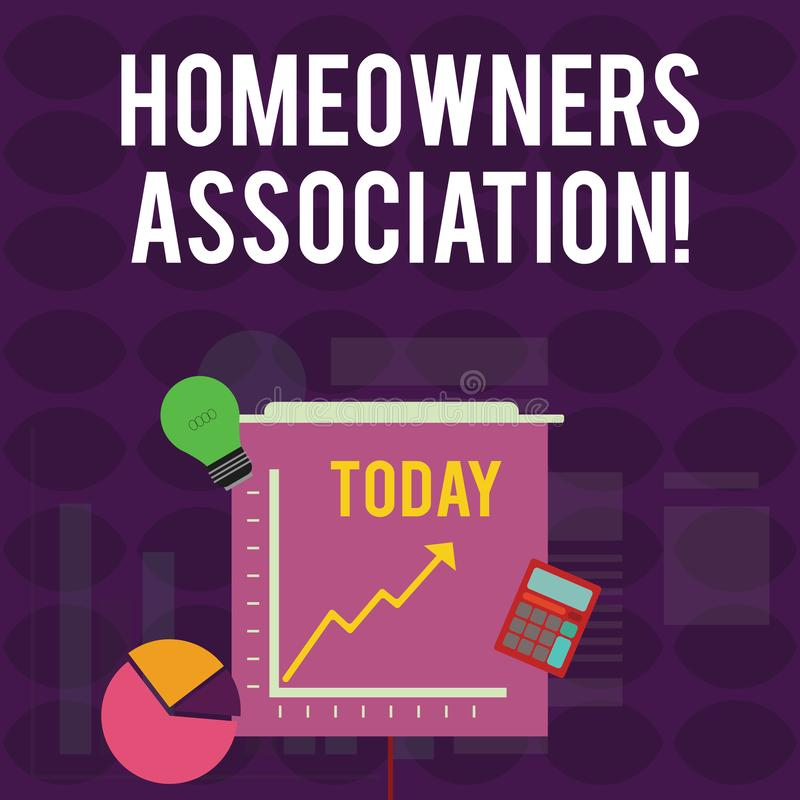Handwriting text writing Homeowners Association. Concept meaning Organization with fee for upkeeps of Gated Community. Handwriting text writing Homeowners royalty free illustration