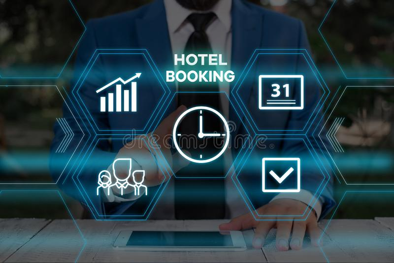 Handwriting text writing Hotel Booking. Concept meaning Online Reservations Presidential Suite De Luxe Hospitality Male. Handwriting text writing Hotel Booking stock image