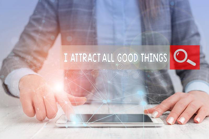 Handwriting text writing I Attract All Good Things. Concept meaning Positive attraction law Motivation Affirmation. Handwriting text writing I Attract All Good stock photos