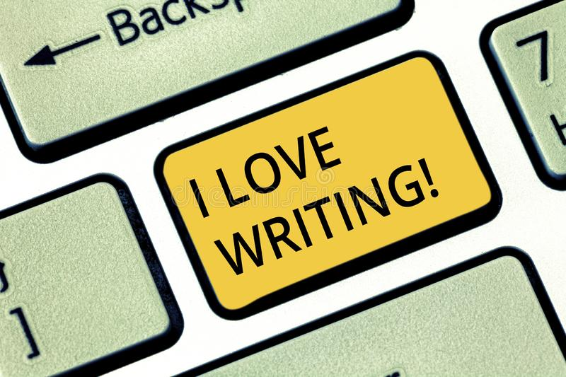 Handwriting text writing I Love Writing. Concept meaning Affection for creating novels journals inspirational author stock photos