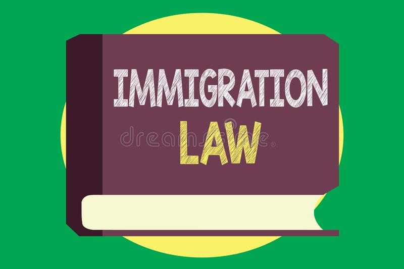 Handwriting text writing Immigration Law. Concept meaning Emigration of a citizen shall be lawful in making of travel.  stock illustration