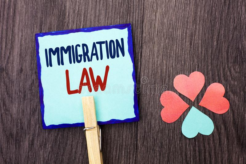 Handwriting text writing Immigration Law. Concept meaning National Regulations for immigrants Deportation rules written on Sticky. Handwriting text writing royalty free stock photos