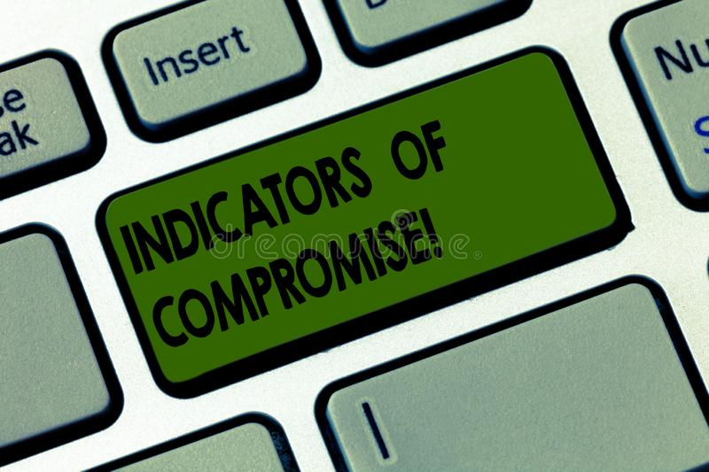 Handwriting text writing Indicators Of Compromise. Concept meaning artifact observed on a network Forensic data Keyboard. Key Intention to create computer royalty free stock image
