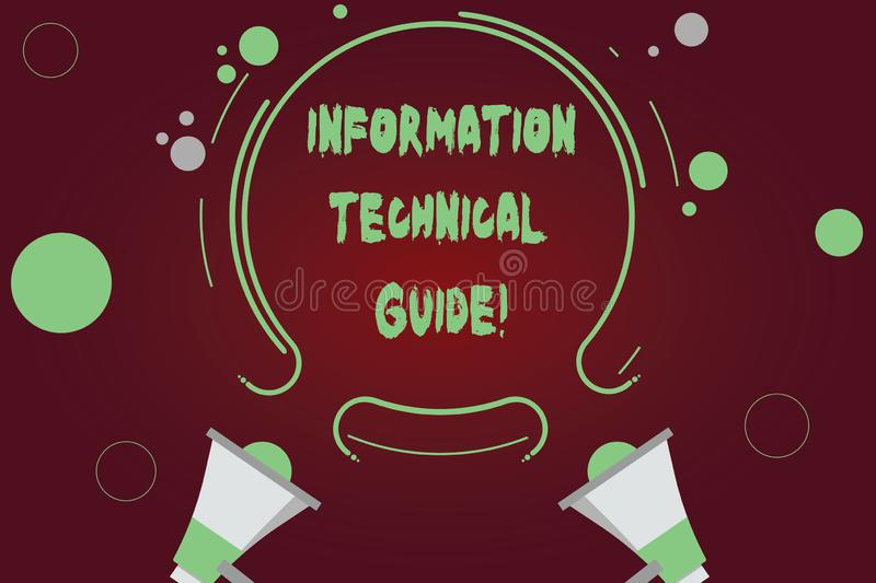 Handwriting text writing Information Technical Guide. Concept meaning Document containing instructions of operation Two Megaphone. And Circular Outline with royalty free stock photos