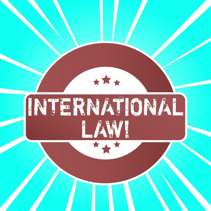 Handwriting text writing International Law. Concept meaning system of treaties and agreements between nations Colored. Handwriting text writing International Law stock illustration