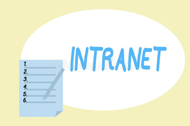 Handwriting text writing Intranet. Concept meaning local or restricted communications network especially private one.  vector illustration