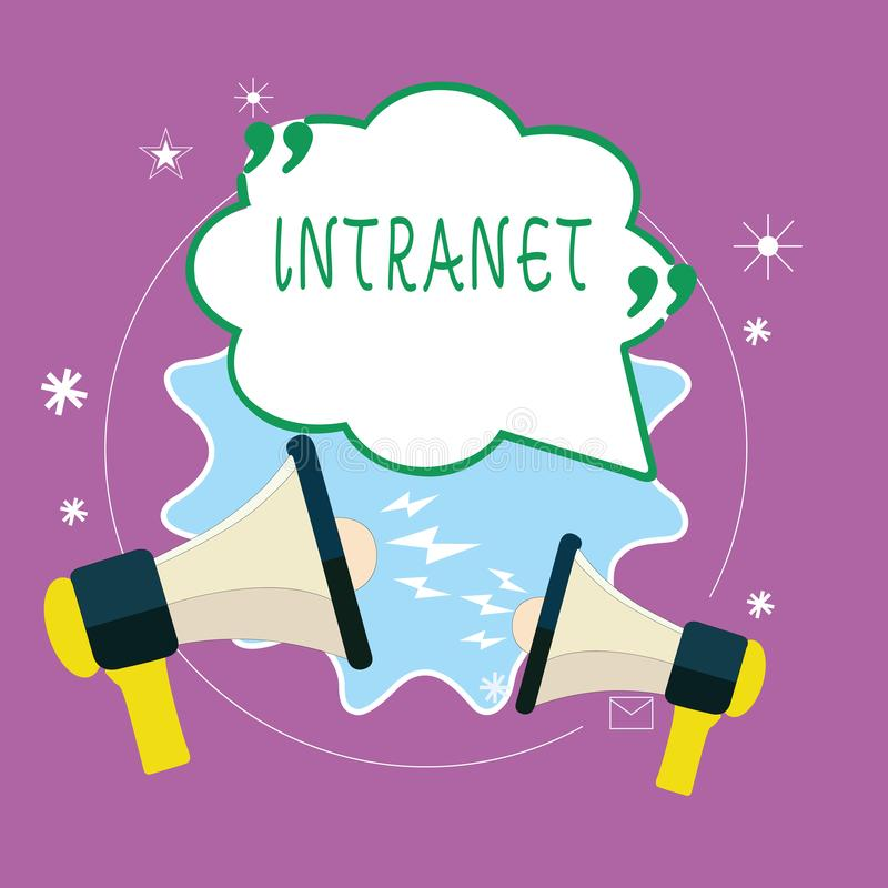 Handwriting text writing Intranet. Concept meaning local or restricted communications network especially private one.  stock illustration