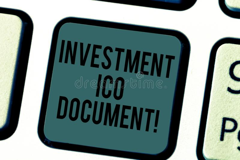 Handwriting text writing Investment Ico Document. Concept meaning Files that states the skill behind a blockchain. Keyboard key Intention to create computer stock photography