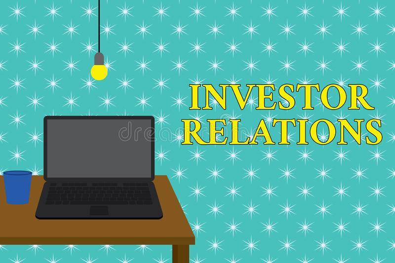 Handwriting text writing Investor Relations. Concept meaning analysisagement responsibility that integrates finance. Handwriting text writing Investor Relations royalty free illustration