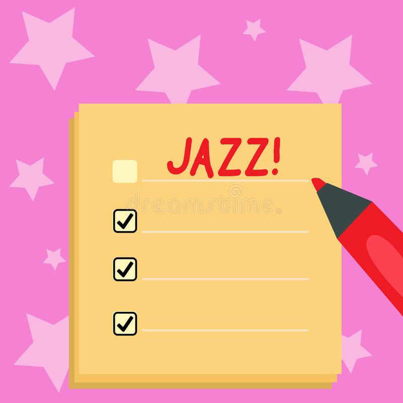 Handwriting text writing Jazz. Concept meaning Type of music of black American origin Musical genre Strong rhythm Blank. Handwriting text writing Jazz stock illustration