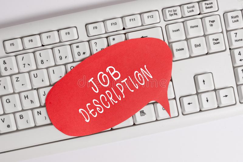 Handwriting text writing Job Description. Concept meaning a formal account of an employee s is responsibilities Empty. Handwriting text writing Job Description stock photo