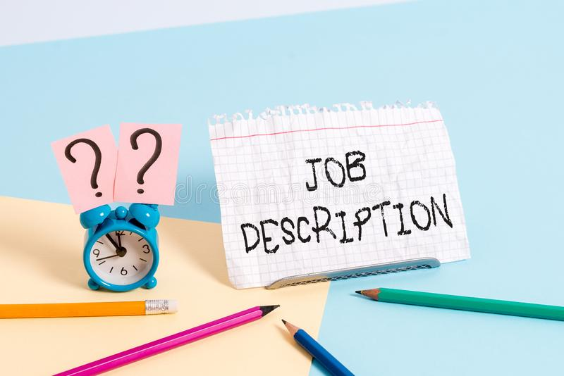 Handwriting text writing Job Description. Concept meaning a formal account of an employee s is responsibilities. Handwriting text writing Job Description royalty free stock photography
