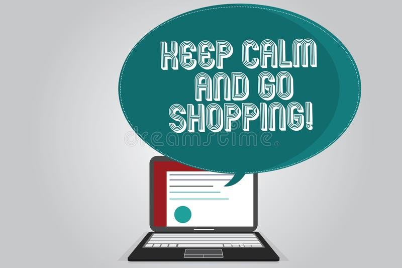Handwriting text writing Keep Calm And Go Shopping. Concept meaning Relax leisure time relaxing by purchasing vector illustration