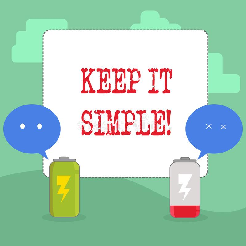 Handwriting text writing Keep It Simple. Concept meaning Simplify Things Easy Understandable Clear Concise Ideas. Handwriting text writing Keep It Simple royalty free illustration