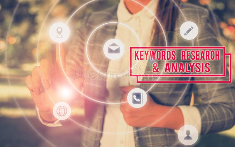 Handwriting text writing Keywords Research And Analysis. Concept meaning search for data and create tables graphs. Handwriting text writing Keywords Research stock photos