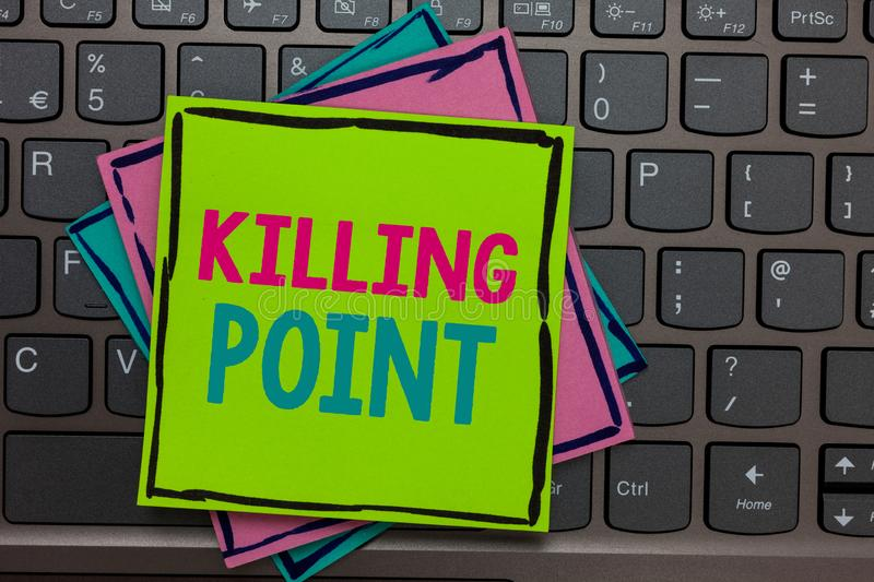 Handwriting text writing Killing Point. Concept meaning Phase End Review Stage Gate Project Evaluation No Go Papers reminders keyb. Oard Inspiration communicate stock image