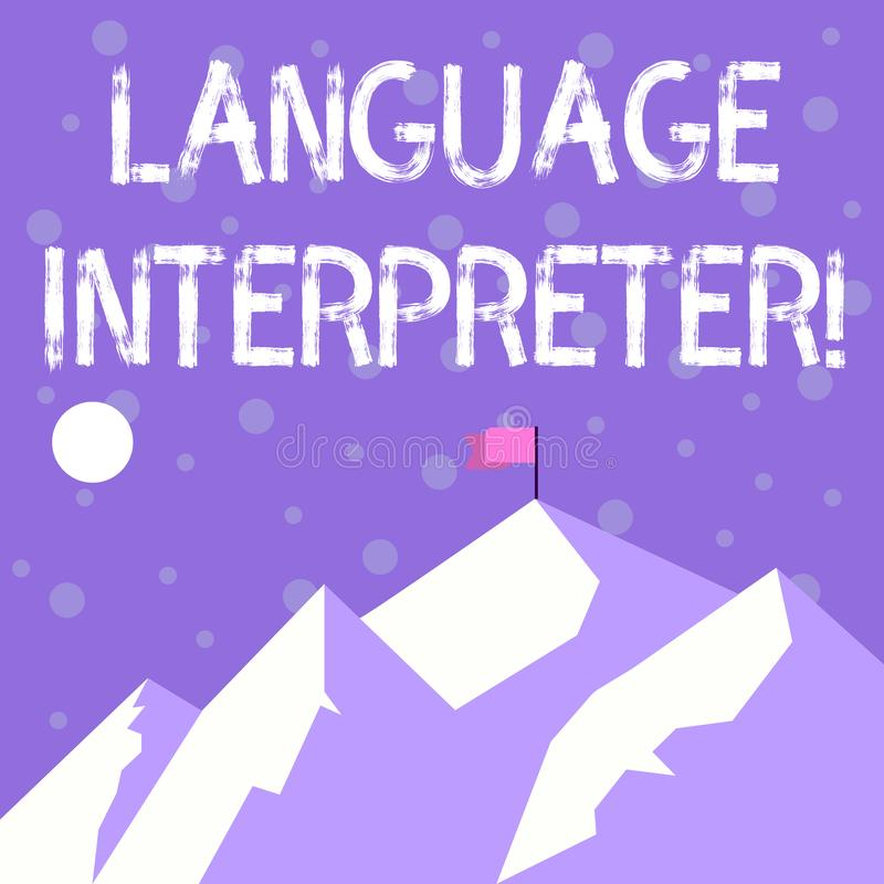Handwriting text writing Language Interpreter. Concept meaning Convey messages between two different languages Mountains. Handwriting text writing Language vector illustration