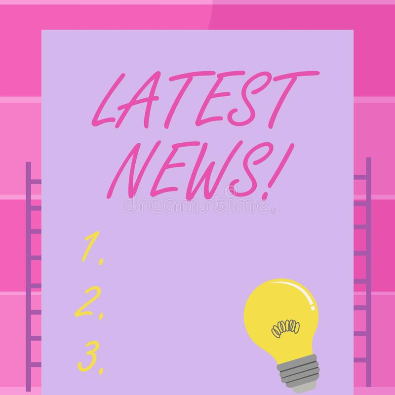 Handwriting text writing Latest News. Concept meaning something that is most recent or currently just happened. Handwriting text writing Latest News. Conceptual vector illustration