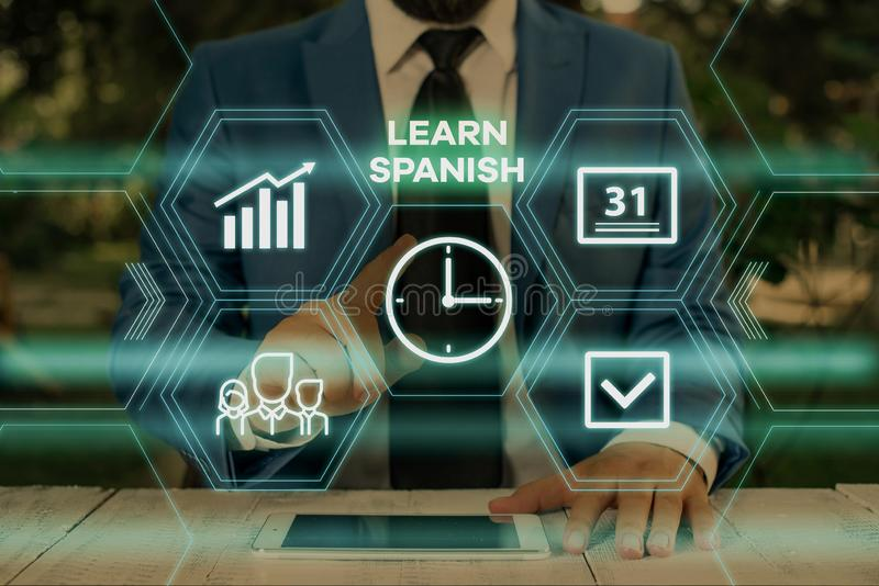 Handwriting text writing Learn Spanish. Concept meaning Translation Language in Spain Vocabulary Dialect Speech Male. Handwriting text writing Learn Spanish royalty free stock image
