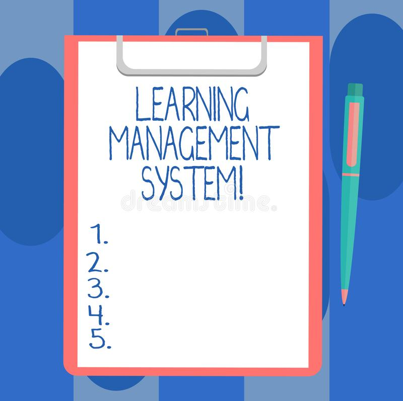 Handwriting text writing Learning Management System. Concept meaning software application that is used to administer. Blank Sheet of Bond Paper on Clipboard vector illustration