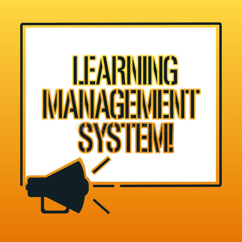 Handwriting text writing Learning Management System. Concept meaning software application that is used to administer. Megaphone Sound icon Outlines Blank Square stock illustration