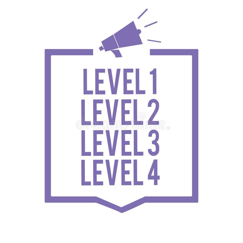 Free Handwriting Text Writing Level 1 Level 2 Level 3 Level 4. Concept Meaning Steps Levels Of A Process Work Flow Megaphone Loudspeake Stock Images - 123947224
