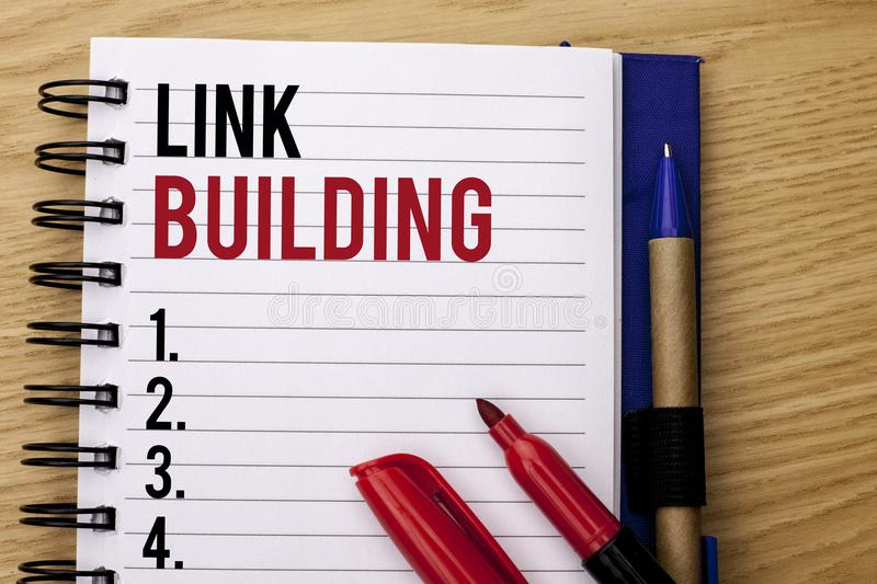 Handwriting text writing Link Building. Concept meaning Process of acquiring hyperlinks from other websites Connection written on. Handwriting text writing Link royalty free stock image