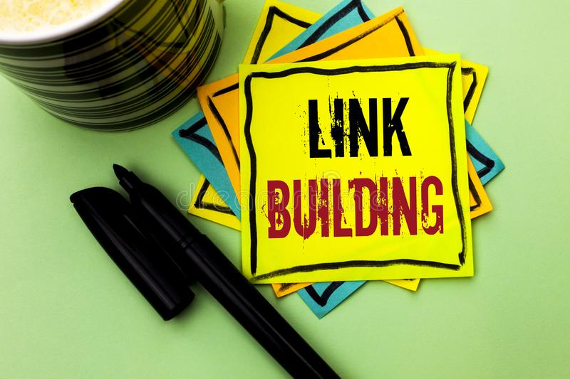 Handwriting text writing Link Building. Concept meaning Process of acquiring hyperlinks from other websites Connection written on. Handwriting text writing Link stock photography