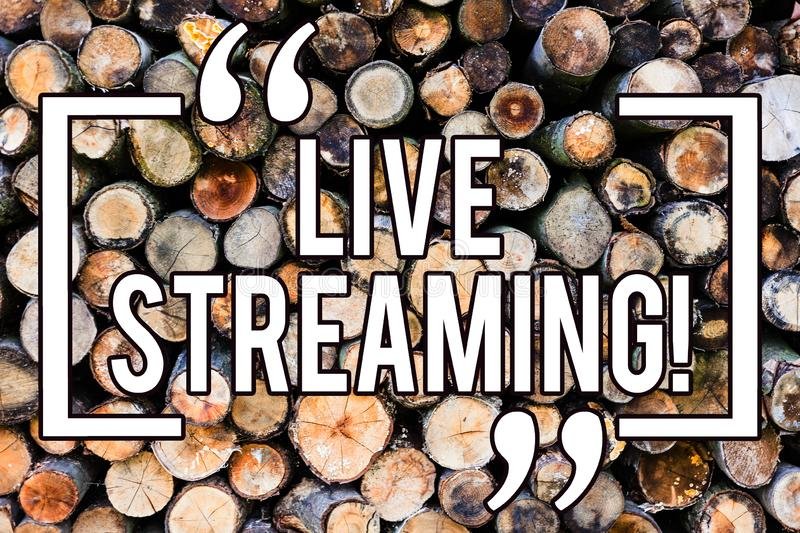 Handwriting text writing Live Streaming. Concept meaning Media realtime transmission Multimedia Technology Broadcast Wooden royalty free stock images