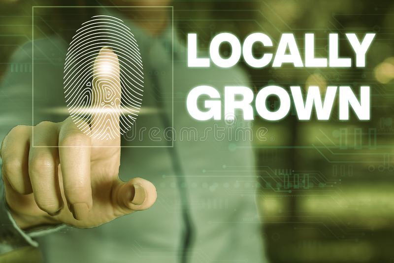 Handwriting text writing Locally Grown. Concept meaning Produced Agricultural Countryside Fresh Vegetables Woman wear. Handwriting text writing Locally Grown royalty free stock images
