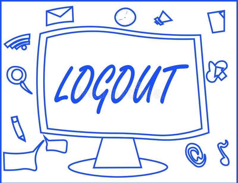 Handwriting text writing Logout. Concept meaning go through procedures to conclude use of computer database or system.  vector illustration