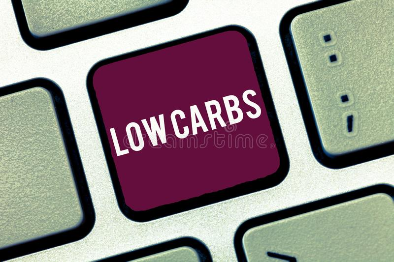 Handwriting text writing Low Carbs. Concept meaning Restrict carbohydrate consumption Weight loss analysisagement diet stock photography
