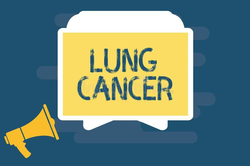 Handwriting text writing Lung Cancer. Concept meaning Uncontrolled growth of abnormal cells that start in the lungs.  royalty free illustration