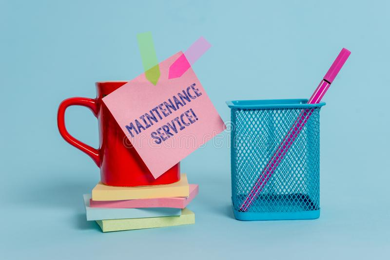 Handwriting text writing Maintenance Service. Concept meaning Keep a Product Service in Good Operating Condition Cup. Handwriting text writing Maintenance stock images