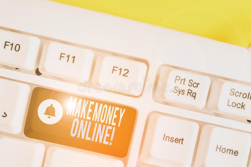 Handwriting text writing Make Money Online. Concept meaning making profit using internet like freelancing or marketing White pc. Handwriting text writing Make stock images