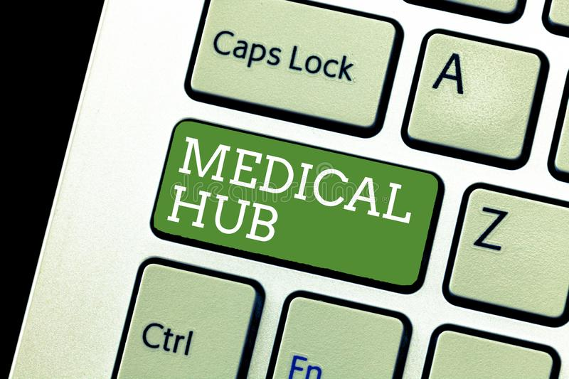 Handwriting text writing Medical Hub. Concept meaning Common connection point for medical devices in a network.  royalty free stock photography