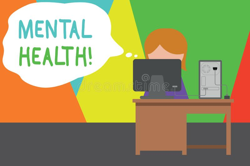 Handwriting text writing Mental Health. Concept meaning demonstratings condition regard to their psychological well. Handwriting text writing Mental Health vector illustration