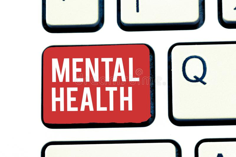 Handwriting text writing Mental Health. Concept meaning Psychological and emotional wellbeing condition of a. Demonstrating stock image