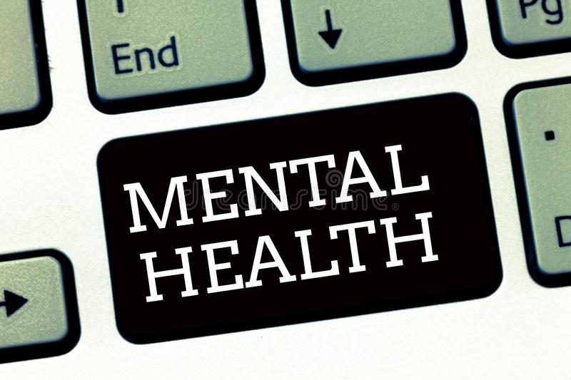 Handwriting text writing Mental Health. Concept meaning Psychological and emotional wellbeing condition of a. Demonstrating stock photos