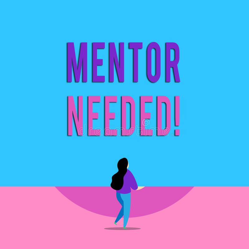 Handwriting text writing Mentor Needed. Concept meaning Employee training under senior assigned act as advisor Lengthy. Handwriting text writing Mentor Needed vector illustration