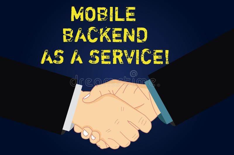 Handwriting text writing Mobile Backend As A Service. Concept meaning Mbaas Link web and mobile apps to cloud storage Hu. Analysis Shaking Hands on Agreement vector illustration