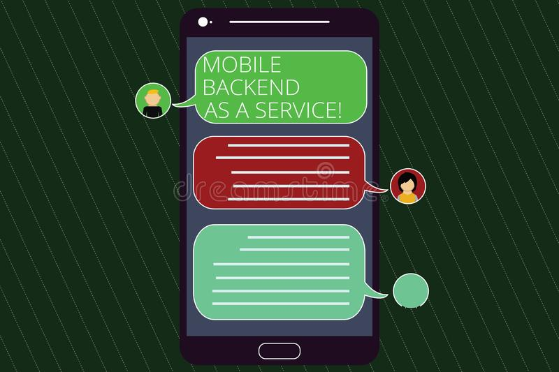 Handwriting text writing Mobile Backend As A Service. Concept meaning Mbaas Link web and mobile apps to cloud storage. Mobile Messenger Screen with Chat Heads royalty free illustration