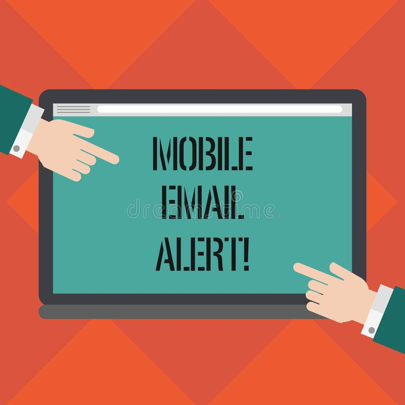 Handwriting text writing Mobile Email Alert. Concept meaning machine to demonstrating communication that is time sensitive Hu. Analysis Hands from Both Sides vector illustration