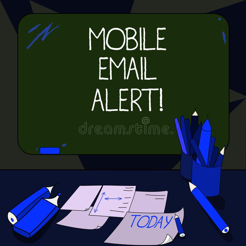 Handwriting text writing Mobile Email Alert. Concept meaning machine to demonstrating communication that is time sensitive Mounted. Blank Color Blackboard with vector illustration