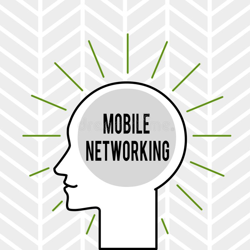Handwriting text writing Mobile Networking. Concept meaning Communication network where the last link is wireless vector illustration