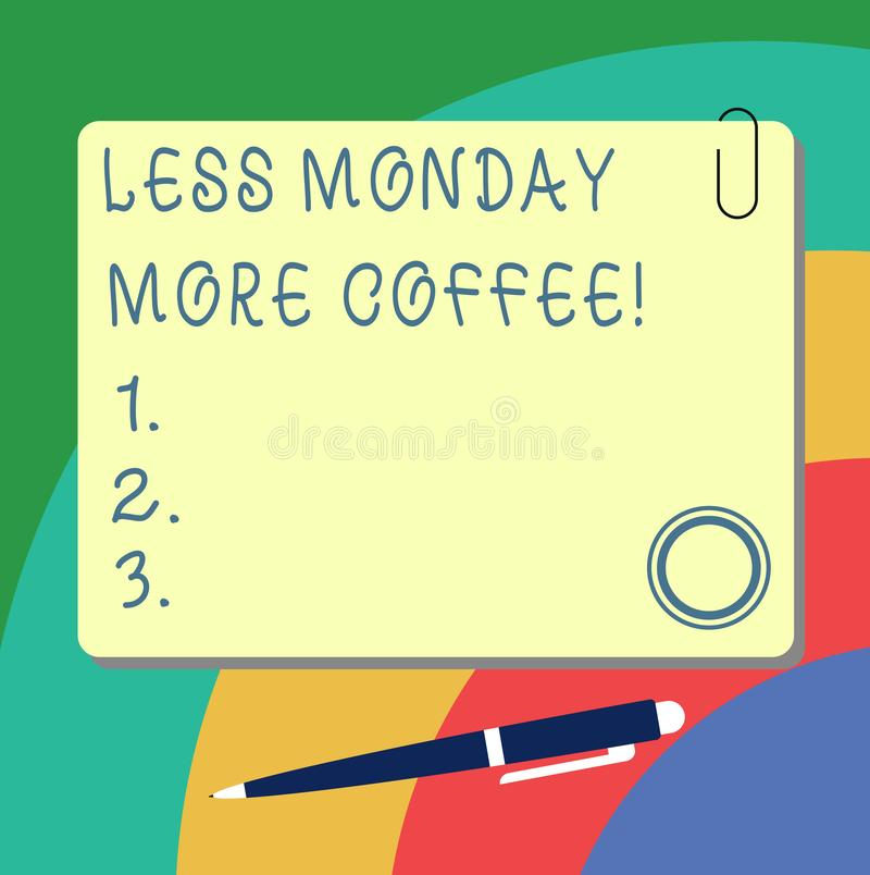 Handwriting text writing Less Monday More Coffee. Concept meaning Hot beverage to get inspired in the week beginning Blank Square. Color Board with Magnet Click vector illustration