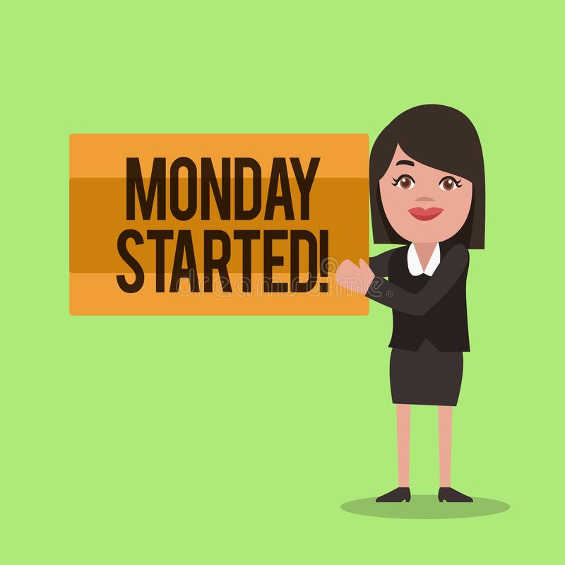 Handwriting text writing Monday Started. Concept meaning getting ready for new week Rest is over lets begin work.  royalty free illustration