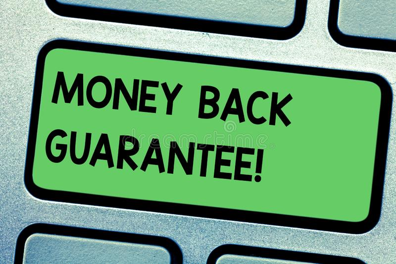 Handwriting text writing Money Back Guarantee. Concept meaning refund will be made if customer is not satisfied Keyboard royalty free illustration