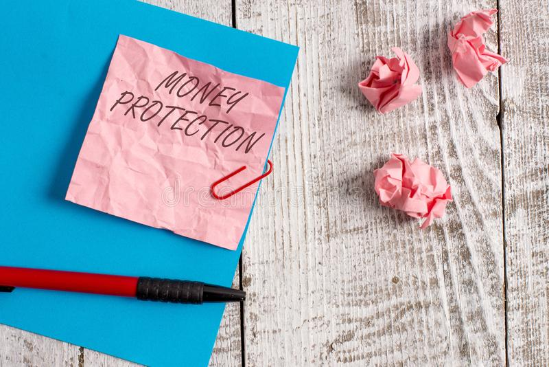 Handwriting text writing Money Protection. Concept meaning protects the rental money tenant pays to landlord Wrinkle. Handwriting text writing Money Protection royalty free stock images